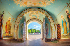 Dentro da catedral ortodoxo, Kiev Foto de Stock