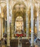 Dentro da igreja Santa Maria em Belém, Lisboa, Portugal Fotografia de Stock Royalty Free