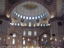 Dentro da mesquita de Suleymaniye Imagens de Stock Royalty Free