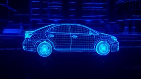 Dentro da transmissão automobilístico da vista geral do fio, motor, suspensão, rodas ilustração do vetor