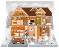 Dentro de la casa (invierno) stock de ilustración