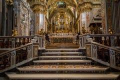 Dentro de la catedral de la basílica en Monte Cassino Abbey Italia Foto de archivo libre de regalías