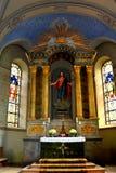 Dentro de la iglesia de la iglesia medieval fortificada Cristian, Transilvania Imagen de archivo