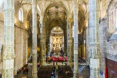 Dentro de la iglesia Santa Maria en Belem, Lisboa, Portugal Fotografía de archivo libre de regalías