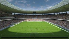 Dentro de la representación del estadio de fútbol 3d Imagen de archivo