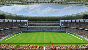 Dentro de la representación del estadio de fútbol 3d Imágenes de archivo libres de regalías
