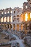 Dentro de Roman Amphitheater antiguo en pulas, Croacia Fotografía de archivo