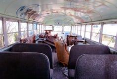 Dentro de um ônibus abandonado Fotografia de Stock Royalty Free