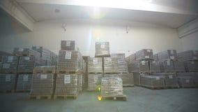 Dentro de um armazém de armazenamento Mover-se da câmera vídeos de arquivo