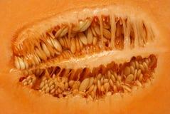 Dentro de um Cantaloupe Fotos de Stock