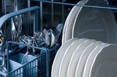 Dentro de uma máquina de lavar louça Fotografia de Stock