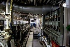 Dentro de un barco rastreador de la pesca Fotografía de archivo