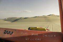 Dentro de un cochecillo 4x4 en las dunas del desierto de Huacachina en el AIC, Perú fotografía de archivo libre de regalías