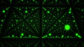 Dentro de un cubo 3D del fondo verde del movimiento del lazo de los puntos que brilla intensamente VJ