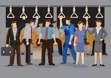 Dentro de un metro apretado durante el vector Illustra de la historieta de las horas punta  Fotos de archivo libres de regalías