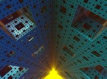 Dentro de un objeto del fractal de la esponja de 3D Sierpinski Imagen de archivo libre de regalías