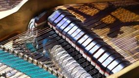 Dentro de un piano magnífico Interior de un piano magnífico Mostrar secuencias, los martillos y la estructura almacen de metraje de vídeo