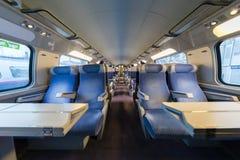 Dentro de un tren de alta velocidad vacío fotos de archivo libres de regalías