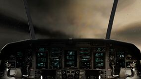 Dentro de un vuelo de la carlinga de la nave espacial a través de una tormenta masiva del relámpago libre illustration