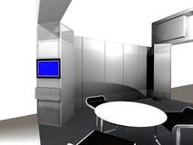 Dentro de una cabina de la exposición ilustración del vector