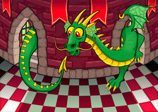 Dentro del castillo con el dragón. stock de ilustración