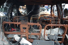 Dentro del coche quemado Imagen de archivo