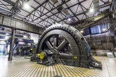 Dentro del pasillo de la máquina para calentar en las industrias siderúrgicas de Volklingen Fotografía de archivo