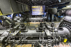 Dentro del pasillo de la máquina para calentar en las industrias siderúrgicas de Volklingen Fotografía de archivo libre de regalías