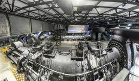 Dentro del pasillo de la máquina para calentar en las industrias siderúrgicas de Volklingen Imágenes de archivo libres de regalías