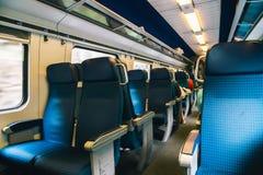 Dentro del tren moderno en Suiza Imagen de archivo