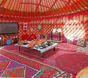 Dentro del yurt kirguizio Imágenes de archivo libres de regalías
