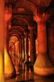 Dentro do reservatório da basílica, Istambul, Turquia Fotos de Stock Royalty Free