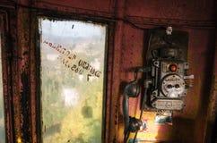 Dentro do teleférico em Chiatura geórgia Atração incomum de Geórgia fotos de stock royalty free