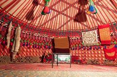 Dentro do yurt imagem de stock