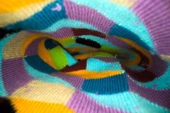 Dentro il calzino Macro colpo Colourful di un interno del tecture del calzino fotografie stock libere da diritti