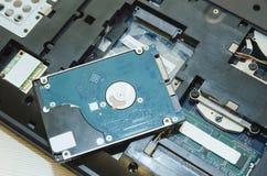Dentro il computer Componenti elettronici del computer portatile fotografie stock libere da diritti