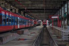 Dentro il depo di lavoro del treno Fotografia Stock Libera da Diritti