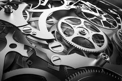 Dentro il meccanismo, movimento a orologeria con le attrezzature di lavoro Fotografia Stock Libera da Diritti
