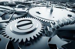 Dentro il meccanismo, movimento a orologeria con le attrezzature di lavoro Immagini Stock Libere da Diritti