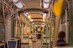 Dentro il tram Fotografie Stock