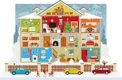 Dentro la casa (natale) royalty illustrazione gratis