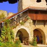 Dentro la chiesa fortificata medievale del sassone in Calnic, la Transilvania Fotografia Stock Libera da Diritti