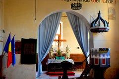 Dentro la chiesa medievale fortificata del sassone in Calnic, casa di TransylvaniTypical nel villaggio Calnic, la Transilvania Fotografia Stock Libera da Diritti
