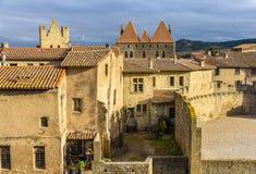 Dentro la città fortificata di Carcassonne Immagini Stock