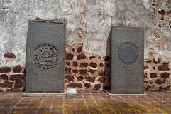 Dentro la rovina antica della chiesa di St Paul nel Malacca Fotografie Stock