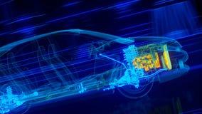 Dentro la trasmissione automobilistica di panoramica del cavo, motore, sospensione, ruote illustrazione vettoriale