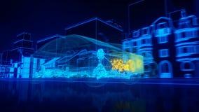 Dentro la trasmissione automobilistica di panoramica del cavo, motore, sospensione, ruote royalty illustrazione gratis