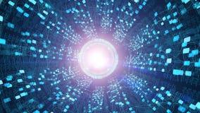 Dentro un'astronave futuristica Viaggio di tempo, spazio cosmico, concetto straniero di tecnologia illustrazione di stock
