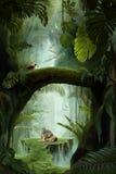 Dentro un canyon mistico profondo della giungla fotografia stock