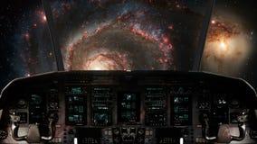 Dentro un volo della cabina di pilotaggio dell'astronave verso una galassia a spirale illustrazione vettoriale